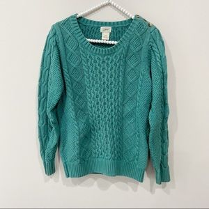 LL Bean Green Cable Knit Chunky Sweater